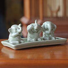 """Novica """"Elephant Life Lessons"""" Celadon Ceramic Figurine Set"""