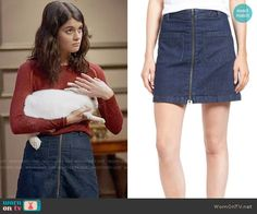 Sabrina's red sweater and denim zip-front skirt on The Mick. Outfit Details: https://wornontv.net/66477/ #TheMick