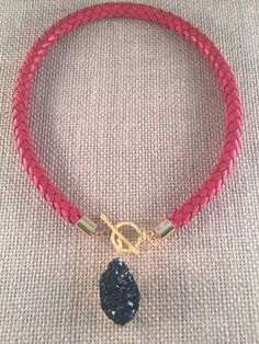 Leather Red Bolo Cord Necklace Black Druzy toggle by ANIKjewelry