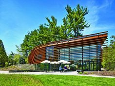 Cornell Plantations Welcome Center - A project by Baird Sampson Neuert for Cornell University's arboretum combines visitor orientation, classrooms, and social spaces while keeping the focus on the surrounding landscape.