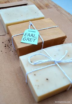 DIY Bergamot + Earl Grey soap. Blended with uplifting essential oil and flecks of Earl Grey tea