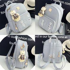 Lovely Cartoon Cats Printing PU Backpack Gift Shoulder Bag Leisure Large School Backpack