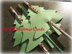Pencil Christmas Cards- easy to make and great gift idea for your student's classmates from MishMashedMe
