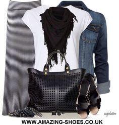 Maxi skirt & denim jacket