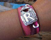 Bohemian Jewelry, Boho Bracelet, Hand Stamped Monogram Jewelry, Boho Chic Fashion Silk Wrap Bracelet, Tie Dyed Pink, Any Color