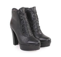 SAGIAKOS Women's Black Leather High-heeled Booties. Γυναικεία ψηλοτάκουνα δερμάτινα μποτάκια. 17 Black, Combat Boots, Celebs, Booty, Ankle, Shoes, Women, Fashion, Celebrities