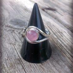 Bague en argent et quartz rose taille 53 ajustable
