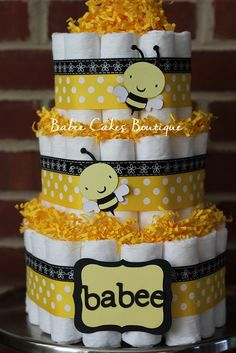 3 Tier Babee Bee Diaper Cake, Gender Neutral Baby Shower, Boy, Bee Baby Shower, Babee Shower, Yellow Black Bee Shower Decor