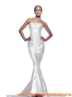 Belle robe couture sirène 2012 élégante broderies robe de mariée satin