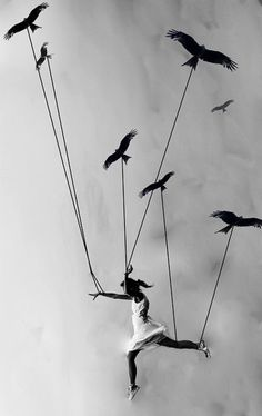 """Learn to fly"" - Photo by Sunny Marry. [art project - myth and reality, lead the way birds] Photo D Art, Illustration Mode, Photo Manipulation, Black And White Photography, Art Photography, Flying Photography, Surrealism Photography, Levitation Photography, Exposure Photography"
