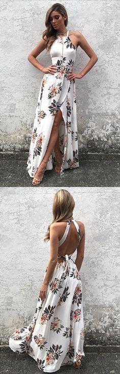 halter floral dresses, long dresses, floral dresses, white floral dresses, boho dresses, printed boho dresses, open back dresses, maxi dresses