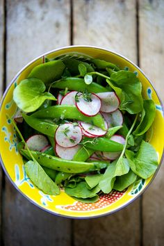Sugar Snap Peas with Radishes, Thyme Cress