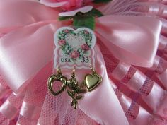 Heart Pin Valentine's Day Pink Rose Postage Stamp with Goldtone Charms Jewelry