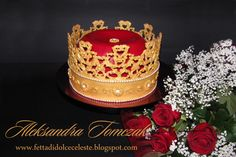 """- This is my two pieces birthday cake made by me!  Crown was made with 24 """"gold"""" (home made fondant) with """"true"""" paited pearls. To make it I used Baroque Fondant Mold, small daisy mold and royal icin as a glue. Red velvet pillow it's red velvet cake filled with mascarpone creme cheese with wipped cream and jello gems!  I hope you will like my 21st cake!!!  For more my cakes please visit my blog:  www.fettadidolceceleste.blogspot.com"""