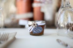 Beautiful Homemade Wedding Favors, personalized with your special labels, hang tags, ribbon colors and jelly flavors! to order call 951-415-6925