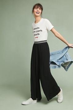 These Deborah trousers will fast become a classic wardrobe staple. They have a high-waisted silhouette that runs wide through the leg and have a metallic-striped waistband for a modern twist. Loose Pants, Pull On Pants, Pants For Women, Clothes For Women, Weekend Wear, Wide Leg Trousers, Spring Outfits, Cool Outfits, Legs