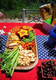 Veggie Tray for Summer BBQ with Lantana Sriracha Carrot Hummus | by Nosh and Nourish