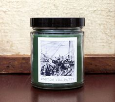 BOSTON TEA PARTY Candle, 8oz Soy Blend, Scented Candle, Black Tea Seaweed and Driftwood Fragrance, American History Inspired Candle