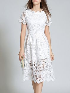 Hollow Out Scalloped Lace Dress