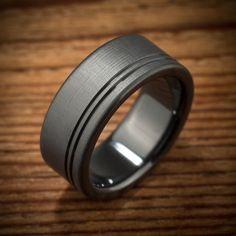 Men's Black Zirconium Offset Stripes Wedding Band made by Spexton.com