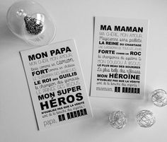 Card my dad – my mom, small words soft just for them Carte MON papa MA maman des petits mots doux rien que pour Pretty Words, Cool Words, My Dad, Mom And Dad, Mom Body, A4 Poster, Small Words, Explosion Box, Mothers Day Crafts