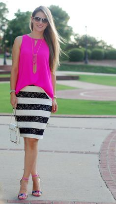 Teodora's Lookbook - stripe lace skirt, hot pink top and floral sandals