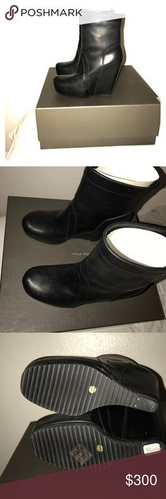 RICK OWENS Pull On Boot Ankle Wedged Heel Absolutely stunning RICK OWENS Black Leather pull on boot. Size 37.5. I am selling because they do not fit and I am completely devastated. Original box included. Rick Owens Shoes Wedges