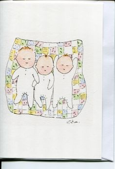 Triplets on patchwork blanket. Card-Handmade and printed from an original watercolour. By https://www.etsy.com/uk/shop/HeatherTatumCards #Triplet cards #triplets #Babies