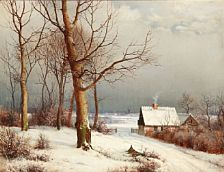 1227/1 - A. Andersen-Lundby: Winter day with a country house. Signed and dated A. Andersen 1873. Oil on canvas. 46 x 60 cm.