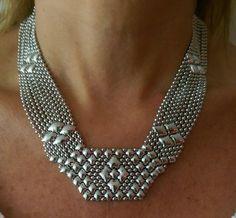 SG Liquid Metal Cleopatra Mesh Silver Necklace N5 by Sergio Gutierrez