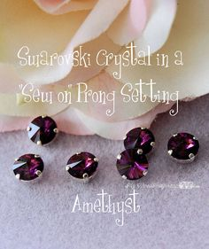 Amethyst 39ss Rivoli - 6pcs Vintage Swarovski Crystal 1122 in a sp 4 Hole Prong Setting - Wire Jewelry Supply - Component
