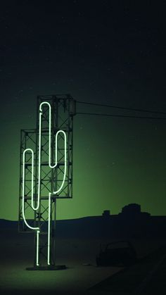 Neon Cactus sign/sculpture | 3-D digital art | Saguaro by foreverforum
