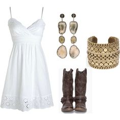 White dress with boots and cute accessories. WEAR TO WEDDING REHERSAL!