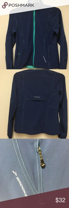 Brooks for Women Jacket w/Shelter Technology Brooks for Women Jacket w/Shelter Technology US size 8  UK size 4. Five pockets. Front zipper and three zippered pockets.Brooks for Women running jacket with Brooks Shelter Technology.  Size S.  Blue with aqua accents.   Five pockets.  Attractive top stitching  Waist draw strings    Measurements   Armpit to armpit: 19 inches (48 cms.) Shoulder to hem: 24 inches (61 cms.) Shoulder to sleeve cuff: 24.5 inches (62 cms.) Posted with eBay Mobile Posted…