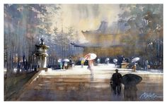 Horyu-ji Temple - Nara by Thomas W. Schaller Watercolor ~ 14  inches x 22 inches