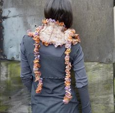 Fritillary Wrap hand knitted frilled wrap scarf by InnerWild