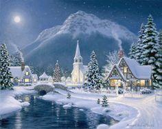 Christmas+Village Christmas Town, Christmas Villages, Christmas Art, Vintage Christmas, White Christmas, Christmas Puzzle, Christmas Graphics, Animated Christmas Cards, Christmas Landscape