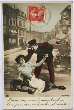French soldier in antique Uniform flirting with fallen lady in the streets * Set of 2 cards same series * 1900s Postcards from France by ExcusemyFrenchShop on Etsy