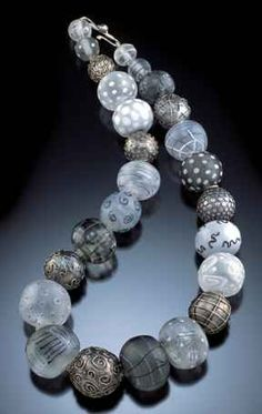 PMC, glass, and sterling necklace by Barbara Becker Simon