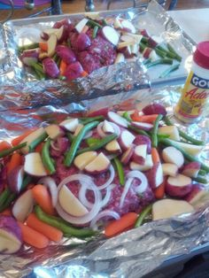 """My version of """"Boy scout dinners""""....yummy. 1lb sirloin ground beef, red potatoes, carrots, sliced onions, fresh green beans, season with adobe seasonings.Completely wrap meal in foil and place on cookie tray just in case it leaks....Broil on hi for 25-35 min...."""