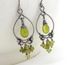 Peridot earrings wire wrap jewelry handmade by CreativityJewellery, $115.00