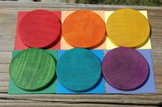 Wood Toy Montessori and Waldorf Inspired Rainbow Disk Accessory Pack
