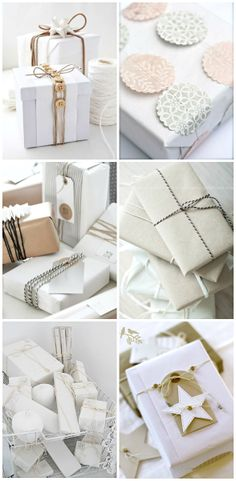 Christmas Gift Wrapping ● Twine!!! Bebe'!!! Gift wrap in white and neutrals!!!