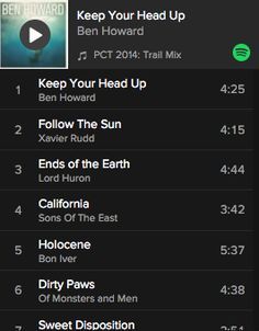 Spotify Playlist #1: PCT 2014: Trail Mix by Wesley Trimble from the PCT Class of 2014 video – This playlist has a great variety of 67 songs to listen to in the car or to get you down the trail.