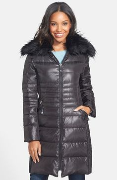 Vince Camuto Faux Fur Collar Quilted Walking Coat available at #Nordstrom