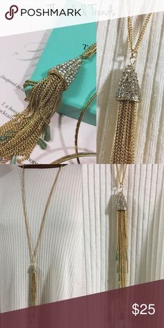 Dainty Crystal Necklace Dainty double gold chain necklace featuring a crystal Pendant with gold chain Tassel & Turquoise beads. Chain drop 17 Chain drop + pendant 23 Jewelry Necklaces