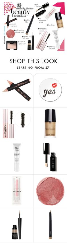 10 Beauty Essentials by istyled on Polyvore featuring beauty, Giorgio Armani, Bobbi Brown Cosmetics, NARS Cosmetics, Rodin, Smashbox, MAC Cosmetics, Anastasia Beverly Hills, Too Faced Cosmetics and philosophy