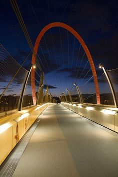"Turin Footbridge, that was constructed for the 2006 Winter Olympics. Lingotto,  province of Turino , Piemonte region Italy. Footbridge between Via Giordano Bruno / Galimberti Square and the shopping mall ""8 Gallery"" which proceeds into the former FIAT factory district ""Lingotto"".  #venividi"
