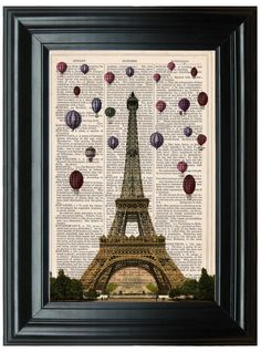 Eiffel Tower Paris dictionary art print book by PeregrinVintage