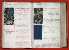 William Morris' dye book for his wallpapers (1860s?)